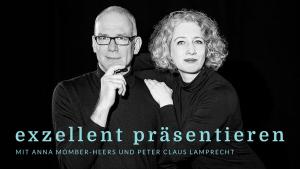 """Podcast """"exzellent präsentieren"""" mit Anna Momber-Heers und Peter Claus Lamprecht. Bildnachweis © Nina Grützmacher Fotografie"""